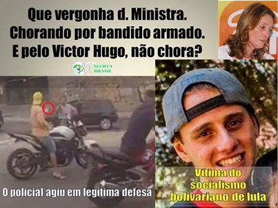 Ministra Maria do Rosário comovida com o policial alvejando o assaltante da moto.